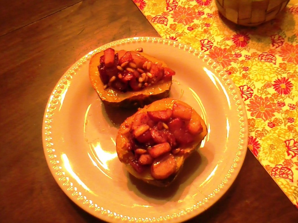 Roasted Acorn Squash w/ parsnips, plums and pinenuts