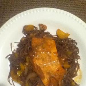 blackbean spaghetti and salmon