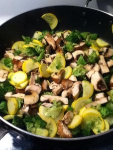 Step 2-cook mushrooms, squash and broccoli