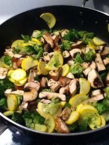 Step 2-cook mushrooms, squash and broccoli