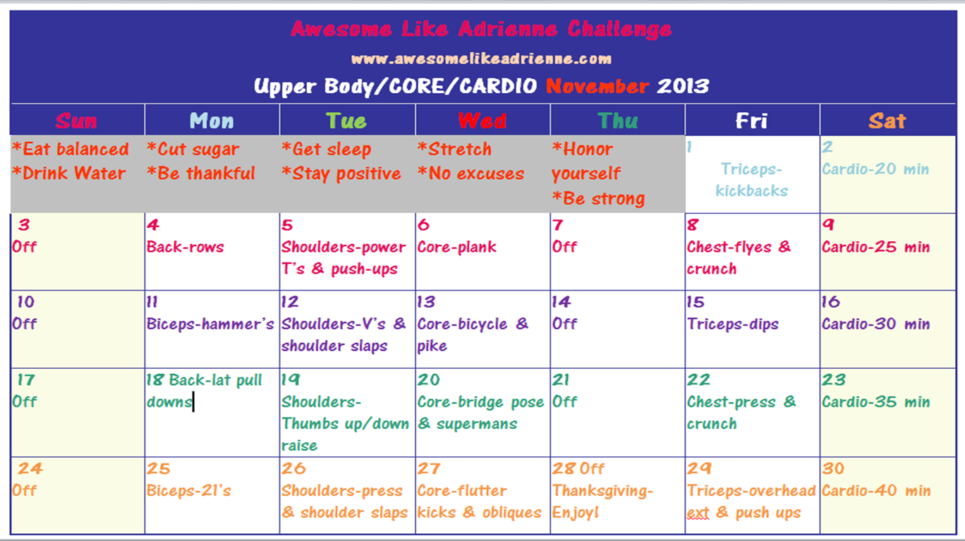 november 2013 upper body core cardio challenge awesome like adrienne