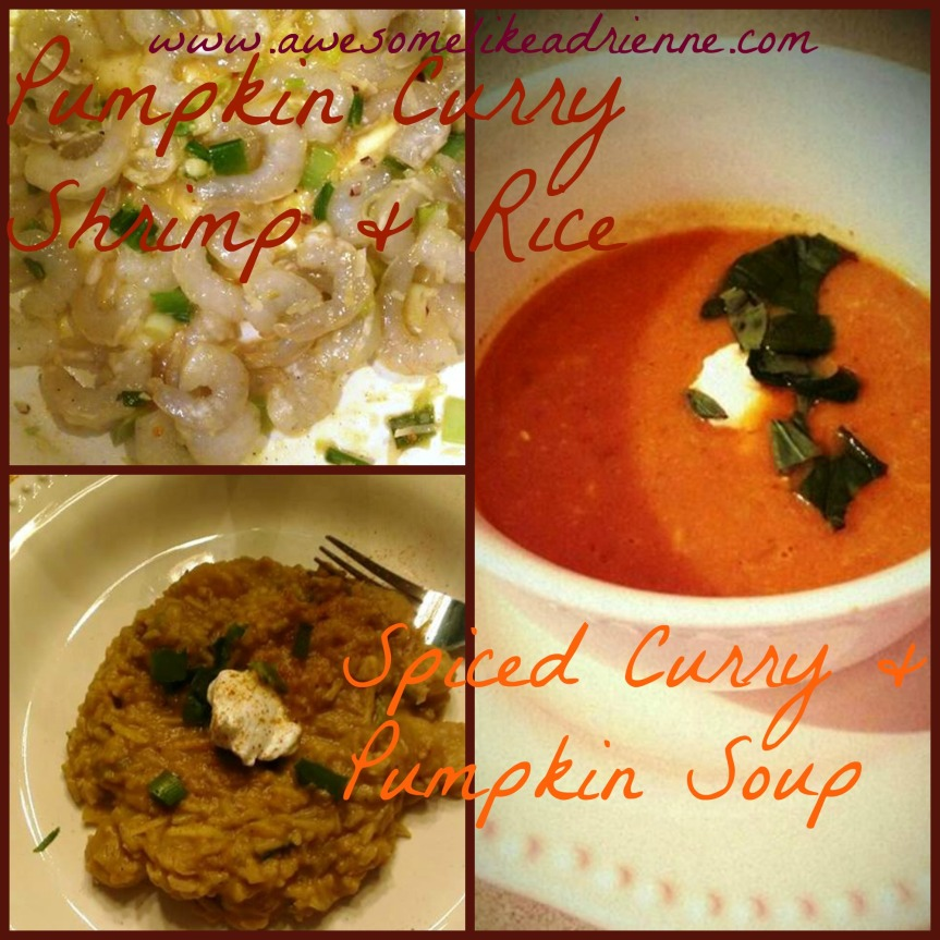collage shrimp and pumpkin