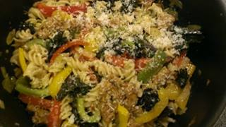 kale peppers and sausage pasta