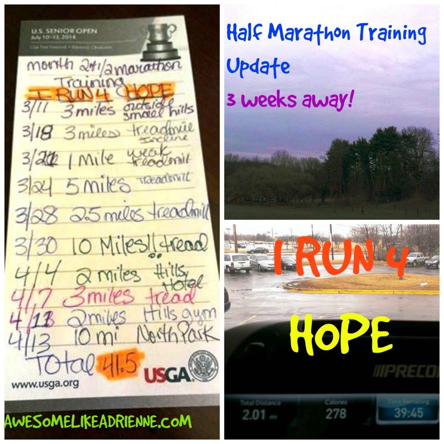 HALF MARATHON TRAINING UPDATE APRIL 14TH