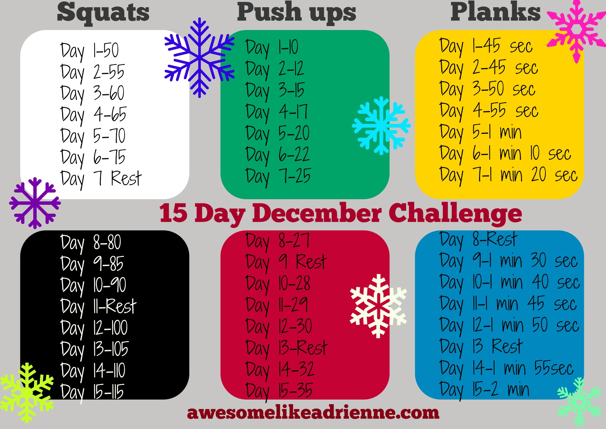 15 Day December Challenge-Squats, Push ups and Planks