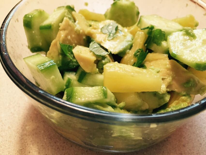 Avocado, cucumber & pineapple salad pictured above: